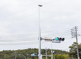 土岐市内 県道 交差点統合柱設置(公共) 交差点用の照明灯のLED化